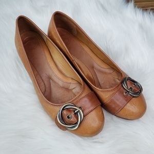 Nurture Canary Brown Leather Wedge Shoes